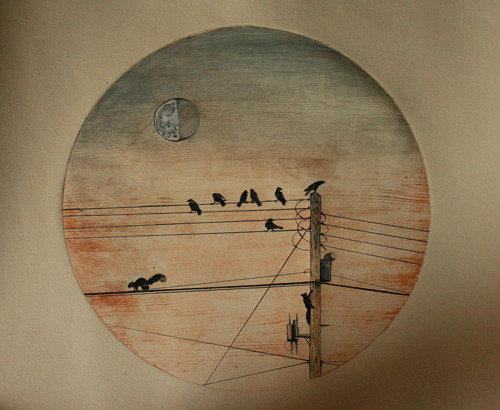 A painting of birds on a wire in front of the moon