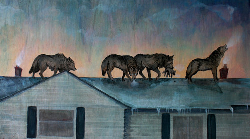 A painting of wolves on a rooftop