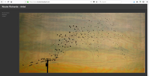 A screen capture of Nicole Richards' art website