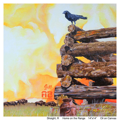 A painting of a crow on a pile of wood