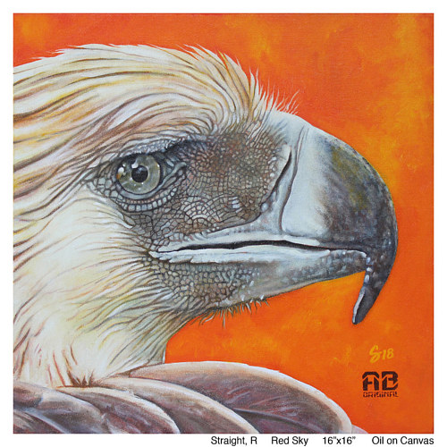 A painting of an eagle in close up