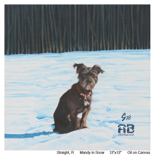 A painting of a small dog in a frozen landscape