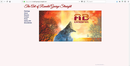 A screen capture of Ronald George Straight's art website