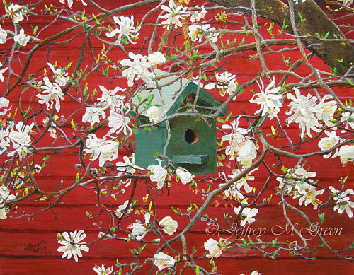 A painting of a birdhouse with white blossoms