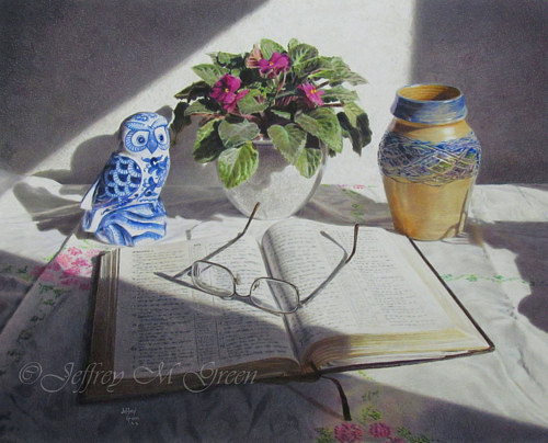 A pencil crayon drawing of a book and some household objects
