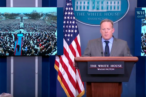 A screen capture of a U.S. press meeting