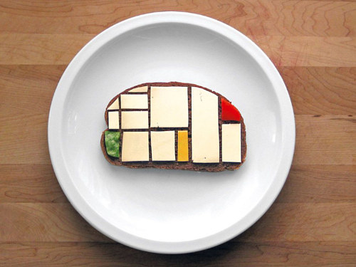 A sandwich made to look like a Piet Mondrian work