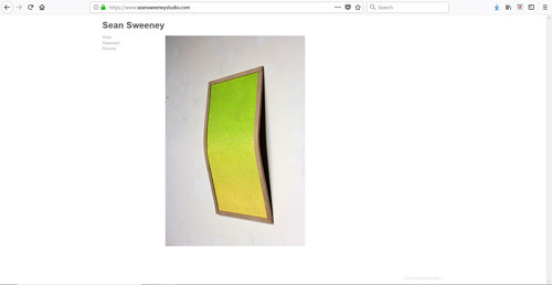 A screen capture of Sean Sweeney's art portfolio website