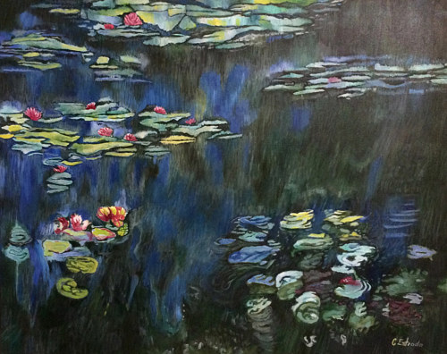 A painting emulating Monet's water lilies