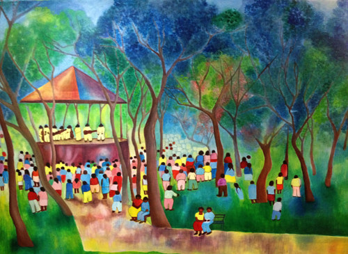 A painting of numerous figures congregating around an outdoor stage
