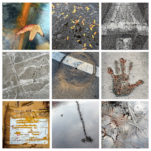 A collage of photographs of a sidewalk