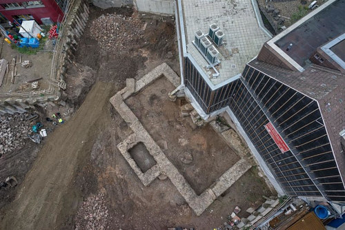 An aerial view of the library ruins in Cologne