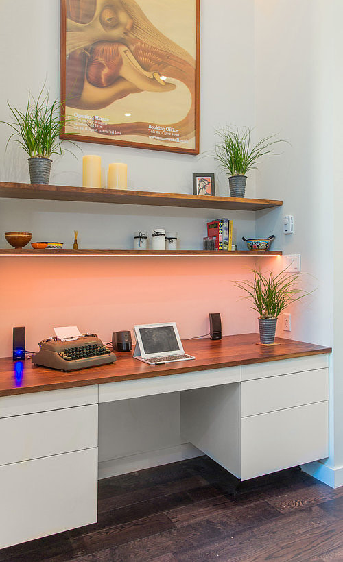 A built-in desk arrangement