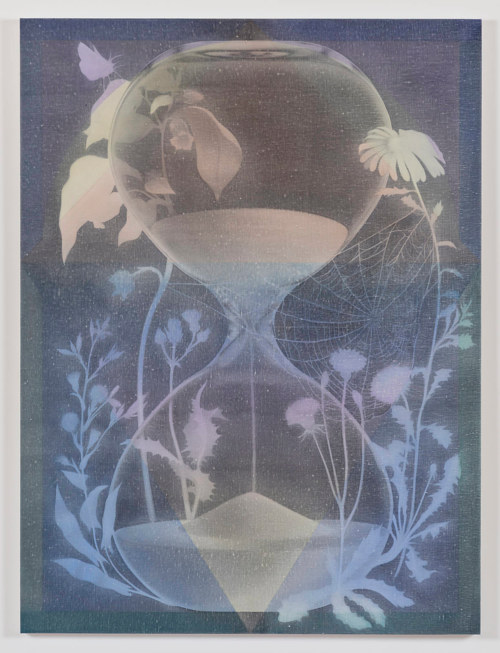 An oil painting of an hourglass
