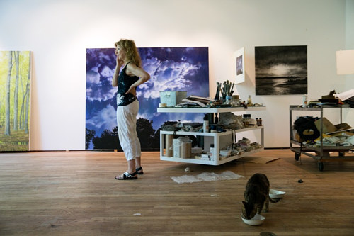 A photo of April Gornik in her New York studio