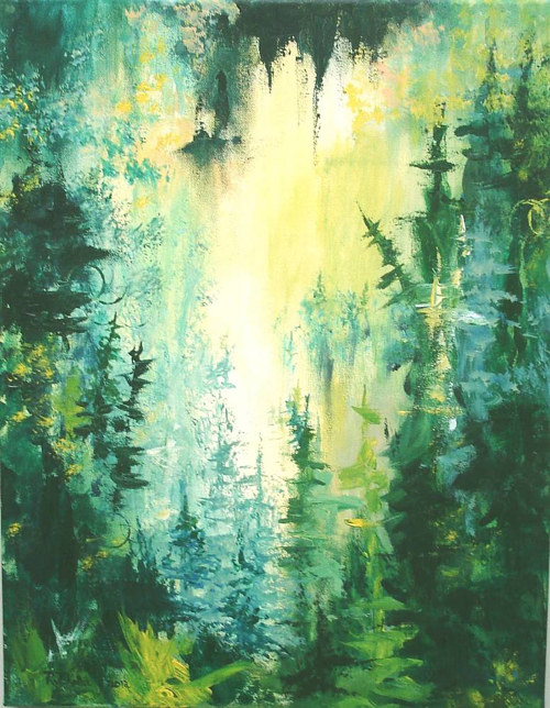 A painting with green and yellow tones