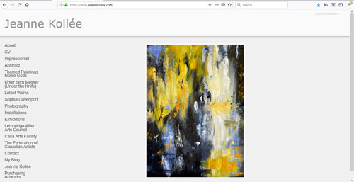 The front page of Jeanne Kollee's art website