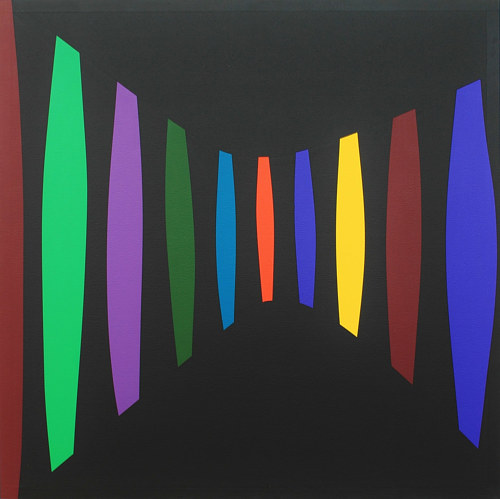 A painting of geometric forms on a dark ground