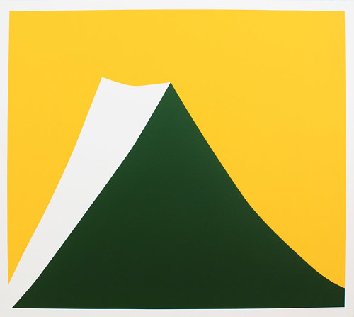 A stylized geometric painting of a mountain