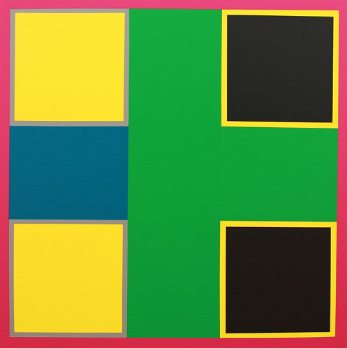 A painting with square planes and lines of colour