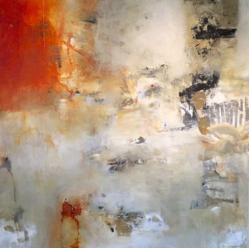 An abstract painting with tones of silver and red