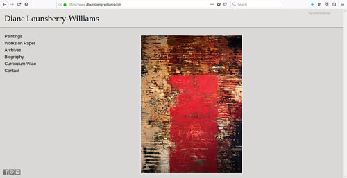 A screen capture of Diane Lounsberry-Williams' art website