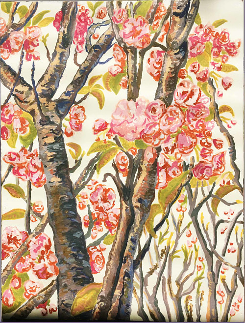 A painting of bright white blossoms on branches