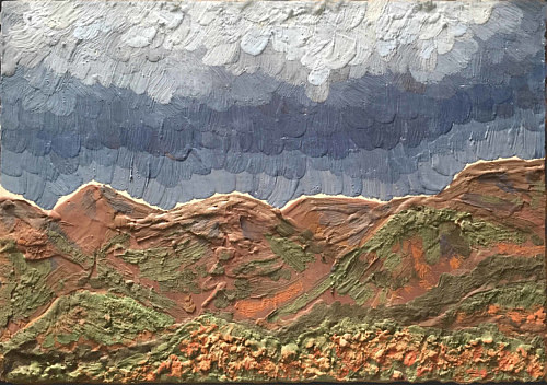 A heavily textured painting of rain in the mountains
