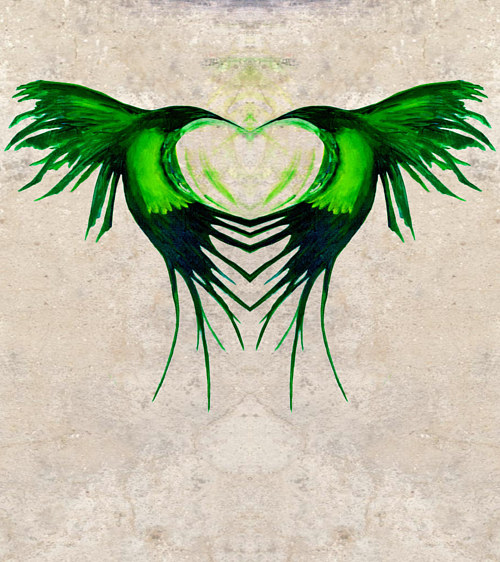A painting of green hummingbirds formed into a heart shape