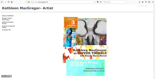 The front page of Kathleen MacGregor's art portfolio website