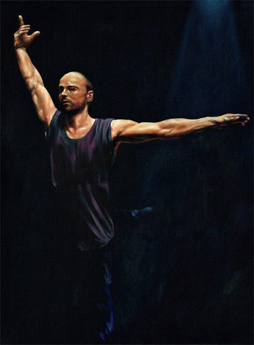 A painting of a male dancer in dark clothing