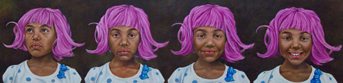 A series of portraits of a young girl in a pink wig
