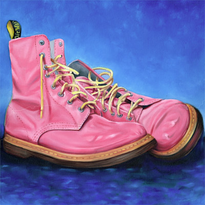 A painting of a pair of pink Doc Marten's boots