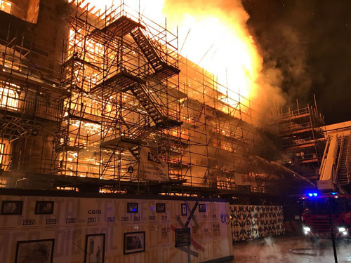 A photo of the 2018 fire at the Glasgow School of Art