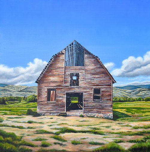A painting of an abandoned barn in a field