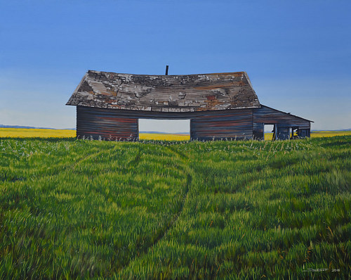A painting of a squat structure in a field