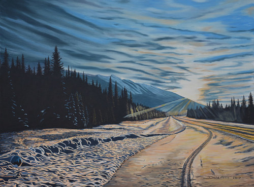 A painting of a snowy landscape at dusk