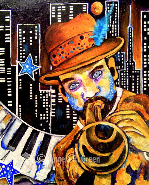 A painting of a trumpet player