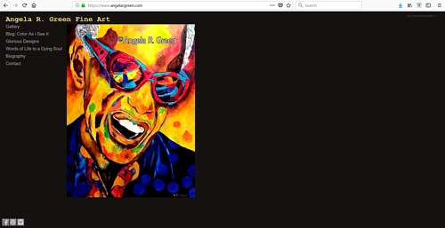 A screen capture of Angela R. Green's art website
