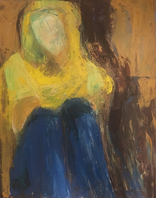 An abstracted painting of a woman in a yellow hoodie