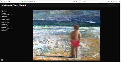 A screen capture of Jan Pearson's art portfolio website