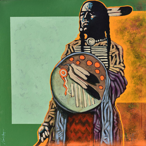 A painting of a native American man in traditional clothing