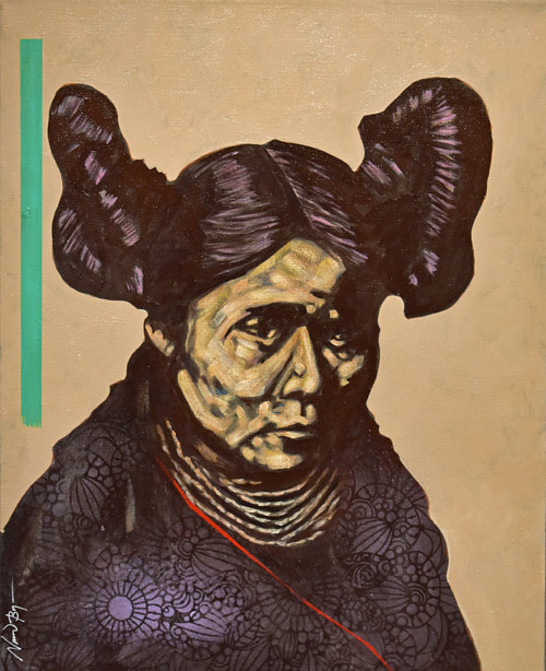 A painting of a woman from the Hopi tribe