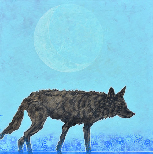 A painting of a black wolf on a blue background