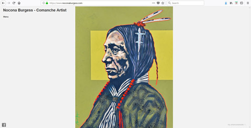 A screen capture of Nocona Burgess' art website