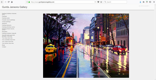 A screen capture of Guntis Jansons' art portfolio website