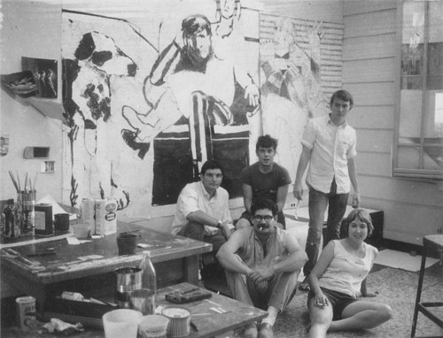 A photo of Joan Brown with friends in her studio