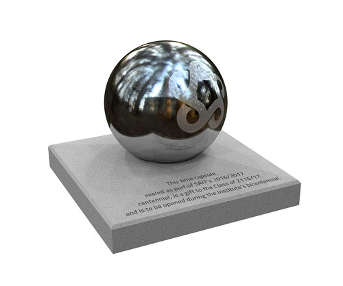 A digital rendering of a time capsule memorial for SAIT