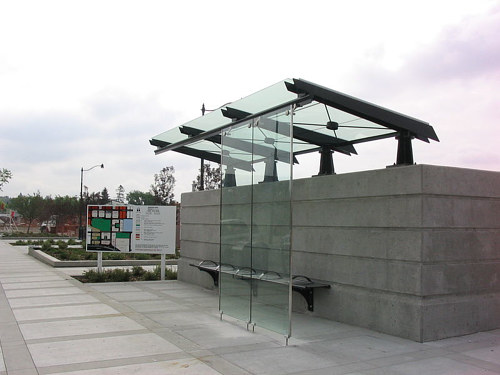 A photo of a custom designed bus shelter