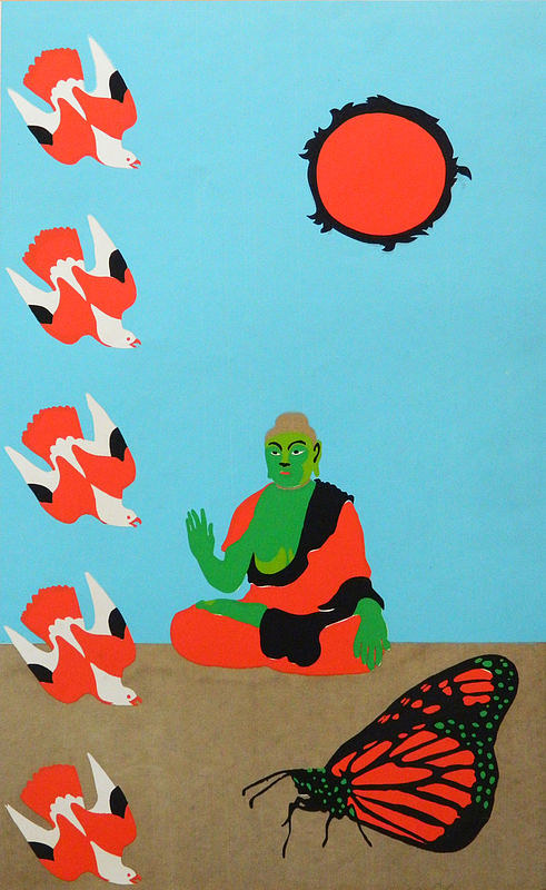 An art print of a buddha figure and insects